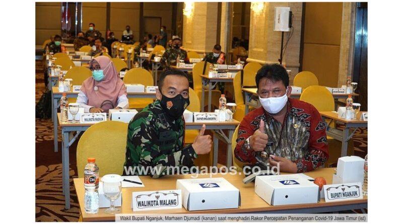 Wabup Hadiri Rakor Percepatan Penanganan Covid-19 Jawa Timur